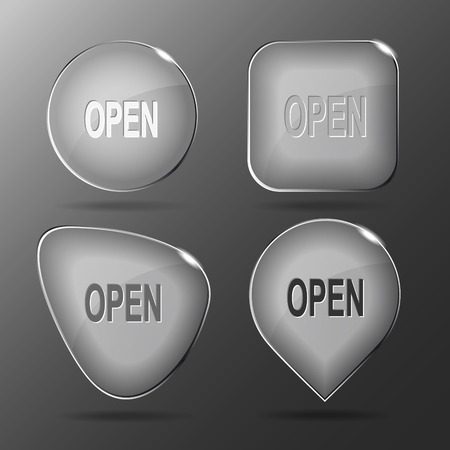unrestricted: Open. Glass buttons. Vector illustration. Illustration