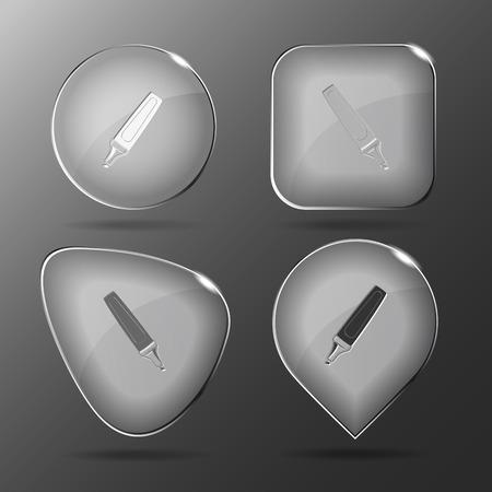felt: Felt pen. Glass buttons.