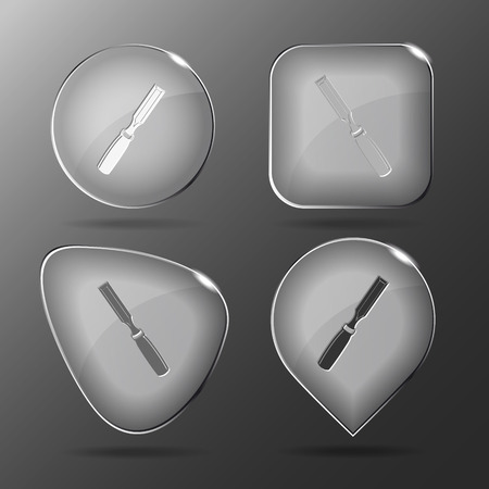 Chisel. Glass buttons. Vector illustration. Vector