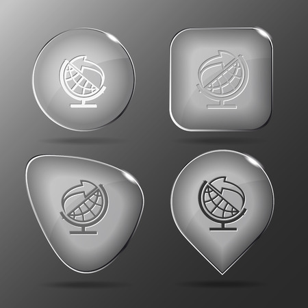 Globe and arrow. Glass buttons. Vector illustration. Vector