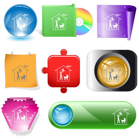 dvd room: Family home. Vector internet buttons. Illustration