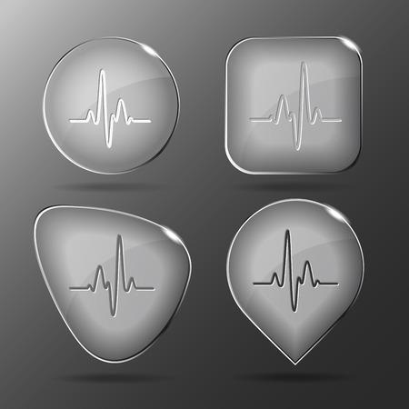 pulsating: Cardiogram. Glass buttons.
