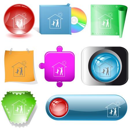 dvd room: Home dog. Vector internet buttons. Illustration