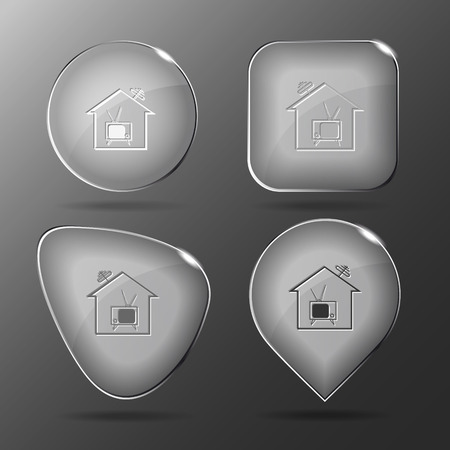 television aerial: Home TV. Glass buttons. Vector illustration. Illustration