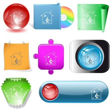 dvd room: Home inspiration. Vector internet buttons.