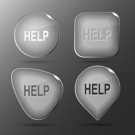 facilitation: Help. Glass buttons. Vector illustration.