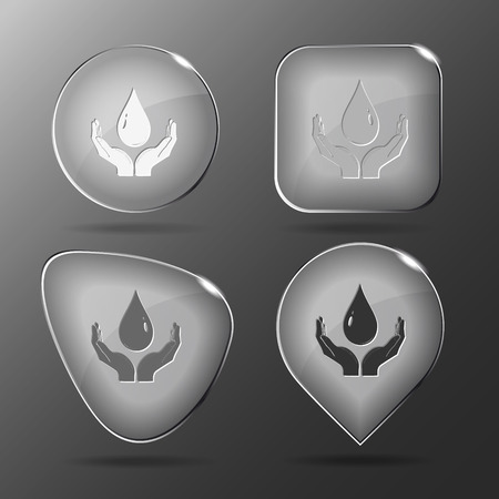 Protection blood. Glass buttons. Vector illustration. Vector