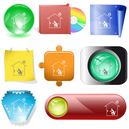 internet buttons: Home toilet. Vector internet buttons.