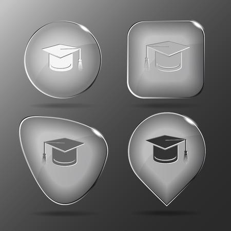 doctorate: Graduation cap. Glass buttons. Vector illustration.