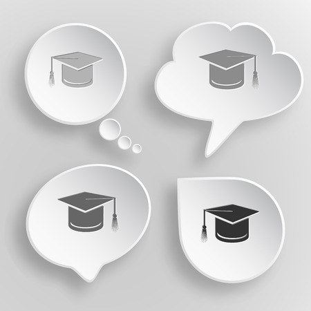 credential: Graduation cap. White flat vector buttons on gray background. Illustration