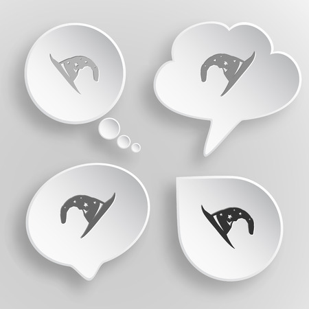 Astrologer's hat. White flat vector buttons on gray background.
