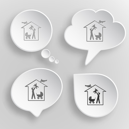 Family home. White flat vector buttons on gray background. Иллюстрация