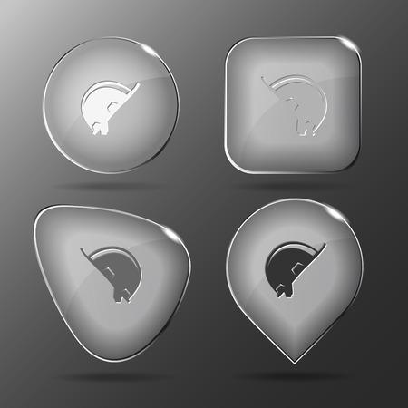 hard: Hard hat. Glass buttons. Vector illustration.