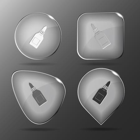 Glue bottle. Glass buttons. Vector illustration. Иллюстрация