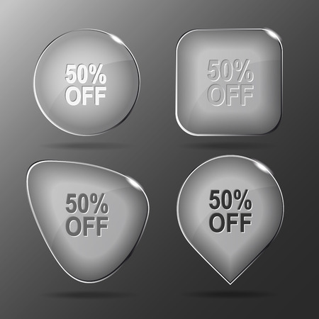 50 off: 50% OFF. Glass buttons. Vector illustration.