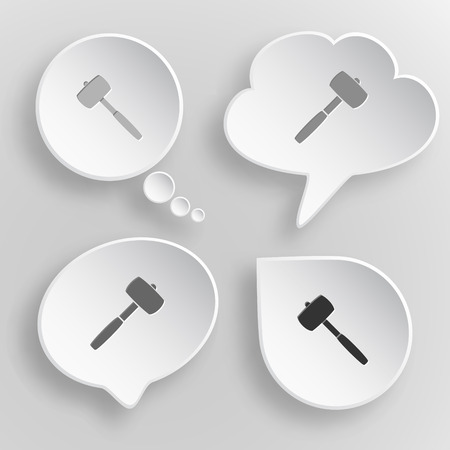 Mallet White flat buttons on gray background. Vector