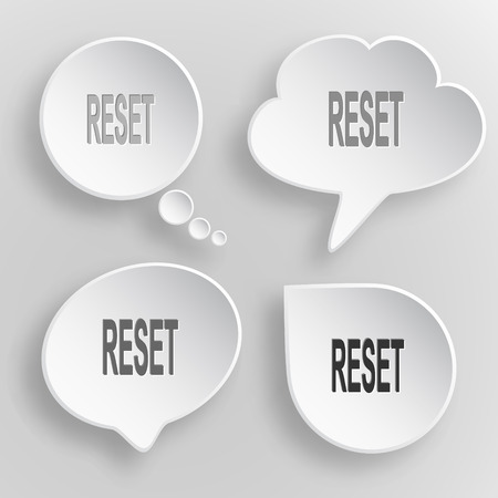 Reset White flat buttons on gray background.