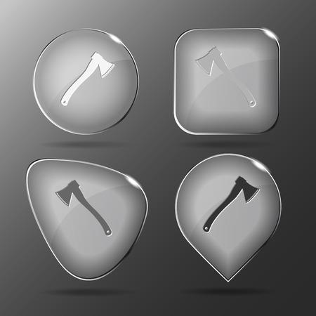 fell: Axe Glass buttons illustration. Illustration