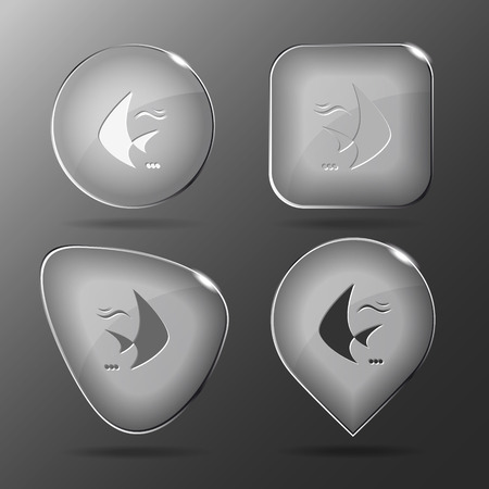 spawn: Fish Glass buttons illustration.