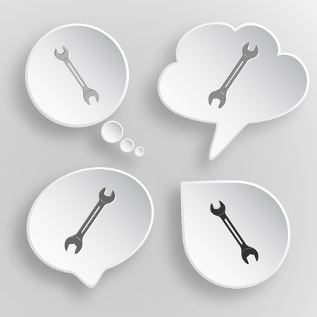 Spanner. White flat vector buttons on gray background. Vector