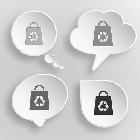 Bag with recycle symbol. White flat vector buttons on gray background. Vector