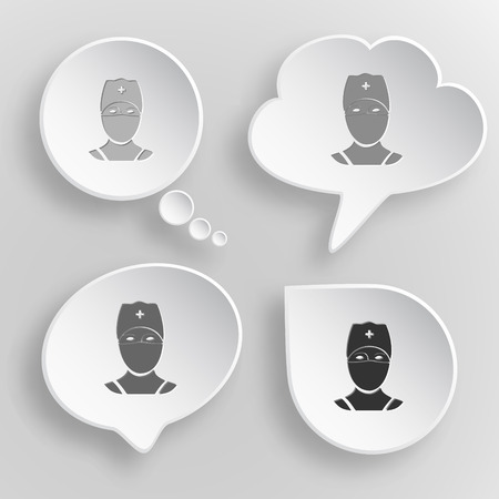 Doctor. White flat vector buttons on gray background. Vector