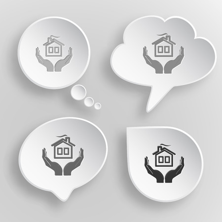 comfort in hands. White flat vector buttons on gray background. Vector