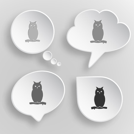 Owl. White flat vector buttons on gray background. Vector