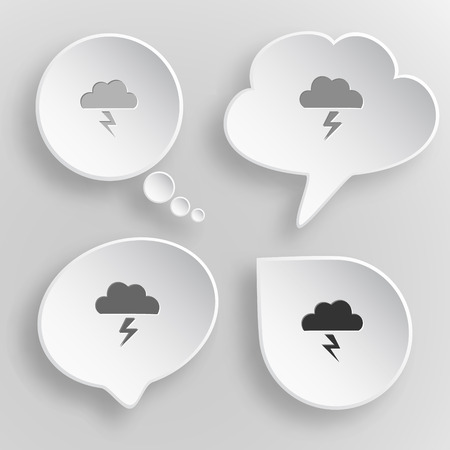 Storm. White flat vector buttons on gray background. Illustration