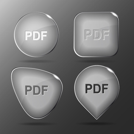 extention: Pdf. Glass buttons. Vector illustration.