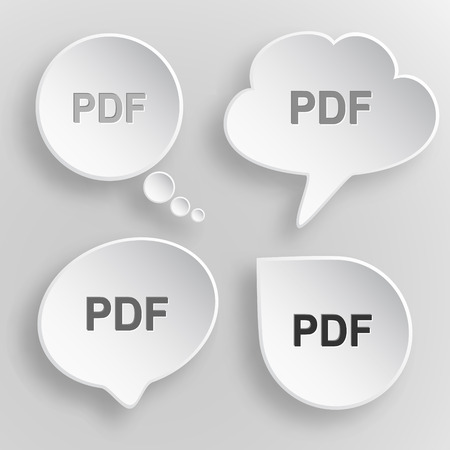 descriptor: Pdf. White flat vector buttons on gray background. Illustration