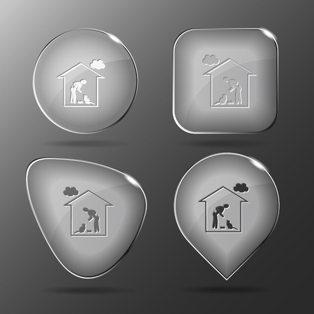 push room: Home cat. Glass buttons. Vector illustration.