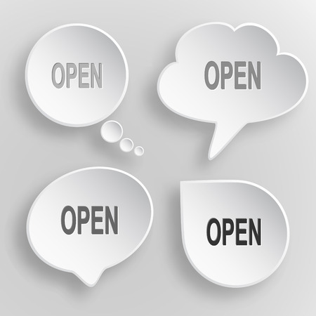 unrestricted: Open. White flat vector buttons on gray background. Illustration