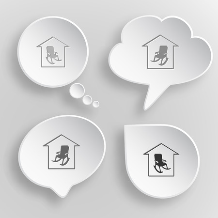 Home comfort. White flat buttons on gray background. Illustration