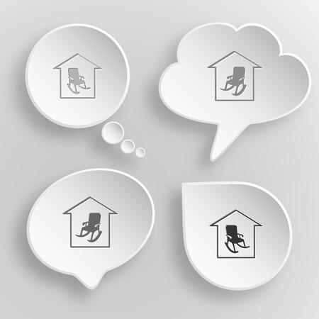 tr�sten: Wohnkomfort. Wei� flachen Tasten auf grauem Hintergrund. Illustration