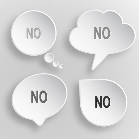 No. White flat vector buttons on gray background. Ilustração