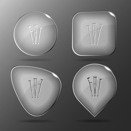 physio: Crutches. Glass buttons. Vector illustration. Illustration