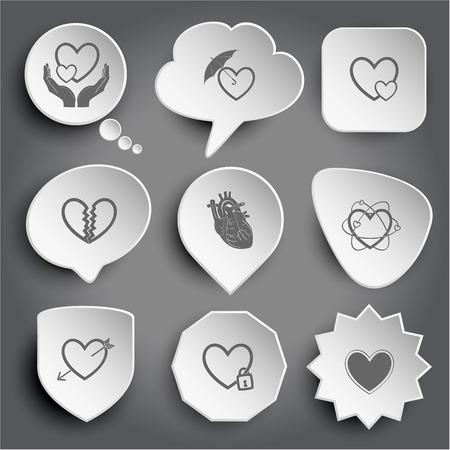 unrequited love: el amor en las manos, amor protecci�n, cuidado del coraz�n, el amor no correspondido, coraz�n at�mico, coraz�n y flecha, coraz�n cerrado. Blanco botones del vector en gris. Vectores