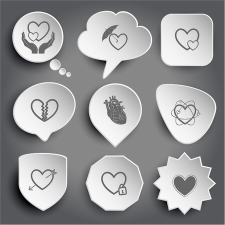unrequited love: love in hands, protection love, careful heart, unrequited love, atomic heart, heart and arrow, closed heart. White vector buttons on gray. Illustration