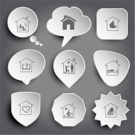 protect home: home reading, hothouse, library, affiance, bedroom, orphanage, inspiration, nursing home. White vector buttons on gray.