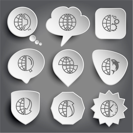 globe and phone, and gears, and magnifying glass, shift globe, and shamoo, and array down, and array up, and clock. White vector buttons on gray. Vector
