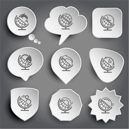 globe and shamoo, and clock, and lock, and arrow, and recycling symbol, and gears, and handset, and loupe. White vector buttons on gray. Vector