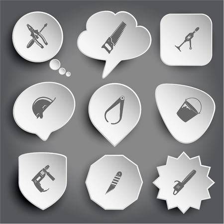 taladro electrico: Combinaci�n de destornillador y alicates, taladro de mano, sombrero duro, pinza, cubo, taladro el�ctrico, cuchillo, sierra con motor de gasolina. Blanco botones de vectores en gris. Vectores