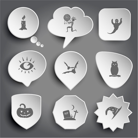 candle, ethnic little man as shaman, ghost, eye, bats, owl, pumpkin, rip, astrologer's hat. White vector buttons on gray. Vektorové ilustrace