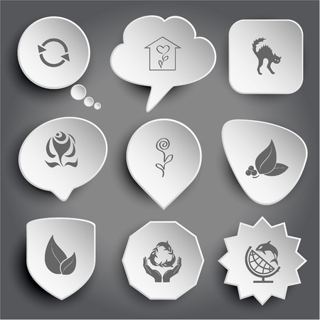 terrestrial mammal: recycle symbol, flower shop, cat, abstract rose, leaf with berries, protection sea life, globe and shamoo. White vector buttons on gray. Illustration