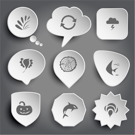 plant, recycle symbol, thunderstorm, bird, cut of tree, fish, pumpkin, killer whale, bee. White vector buttons on gray. Vector