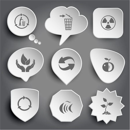 symbol of life: recycling bin, radiation symbol, life in hands, recycle symbol, apple, fish, sprout. White vector buttons on gray.