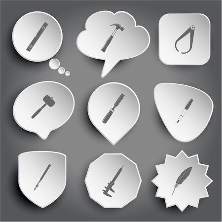 spirit level, hammer, caliper, mallet, chisel, ink pen, ruling pen, feather. White vector buttons on gray. Vector