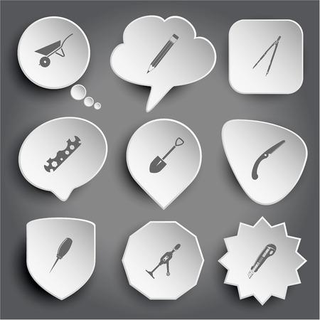 wheelbarrow, pencil, caliper, cycle spanner, spade, hand saw, awl, hand drill, knife. White vector buttons on gray. Vector