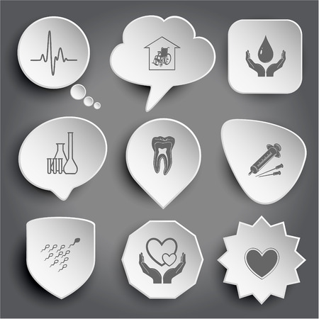 cardiogram, nursing home, protection blood, chemical test tubes, tooth, syringe, spermatozoon, love in hands, heart. White vector buttons on gray. Vector